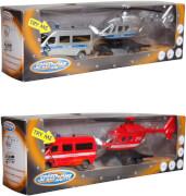 Speed Zone Einsatzfahrzeuge mit Anhänger, 26 cm, 1:64, 2-teilig, ca. 31x5x9 cm, ab 3 Jahren