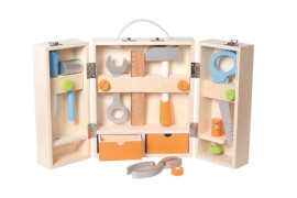 SpielMaus Holz Werkzeugkoffer mit Zubehör
