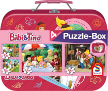 Schmidt Puzzle 56509 Bibi und Tina, Puzzleset im Metallkoffer, 2 x 100 und 2 x 150 Teile, ab 6 Jahre