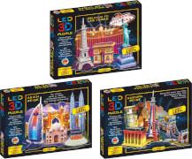 LED 3D Diorama Puzzle - 51 Teile Motiv: Europa Reise