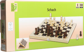 Natural Games Schachkassette hell, 29x29cm, Strategiespiel, ca.  29x29x4,3cm, für 2 Spieler, ab 8 Jahren