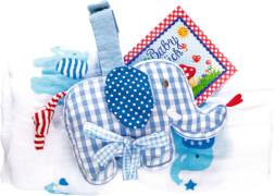 Geschenkset Mulltuch+Spieluhr BabyGlück, hellblau